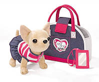 Собачка ЧиЧиЛав Чихуахуа Модный джинс с сумочкой и зеркальцем