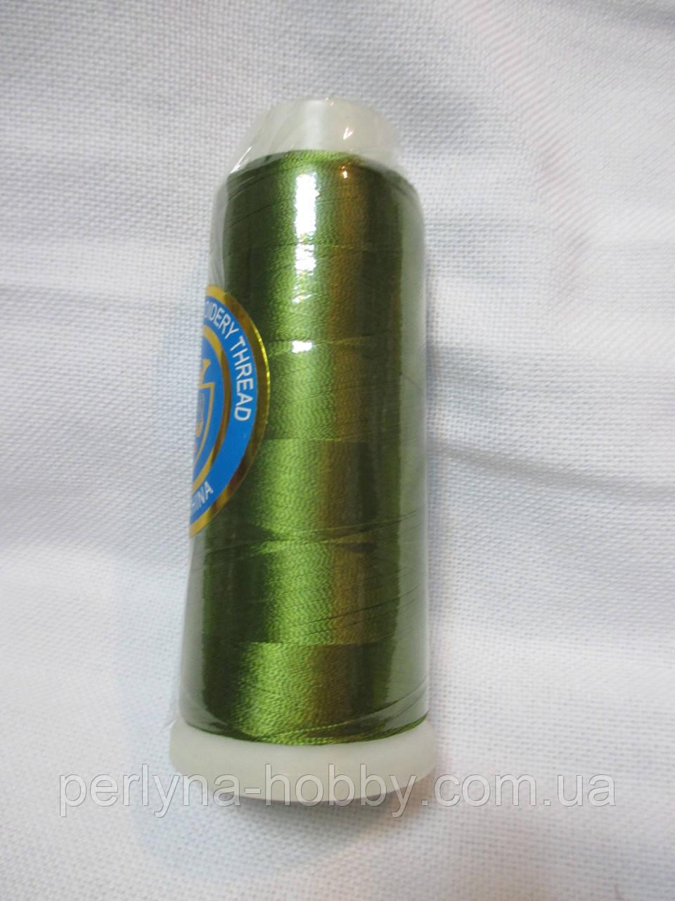 Нитки для машинної вишики 100% віскоза (100% rayon) 3000 ярдів, №223, зелений-хакі
