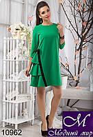 Зеленое женское платье-клеш с рюшами  (р. S, M, L) арт. 10962