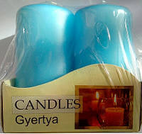 Свеча голубая декоративная цилиндрическая 40х80мм 4шт