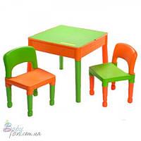 Столик и два стульчика Tega Building Block Orange/Green