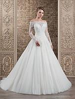 Шикарное свадебное платье А-силуэта на длиный рукав