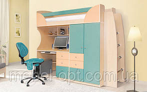Комплект мебели для детской комнаты Комби Морская волна (SM) 2260*1970*880 детская кровать горка со столом