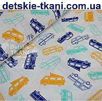 """Ткань бязь детская """"Автобусы"""", цвет синий, мятный и оранжевый, № 502"""