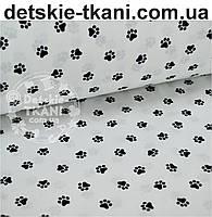 Ткань бязь с маленькими лапками чёрного цвета, № 503а