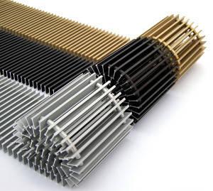 Решетка для конвекторов с 2 теплообменниками дюралюминевая, 1500 х 380 (мм)