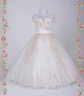 Детское праздничное платье Паола белое и молочное
