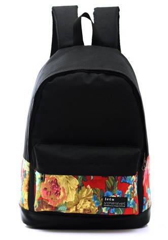 Черный рюкзак с цветами оптом D6479