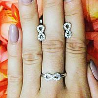 """Комплект из серебра серьги, кольцо с белыми фианитами """"Бесконечность"""""""
