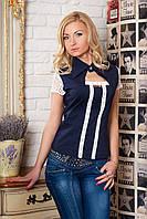 Летняя блузка с кружевом и гипюровыми рукавами
