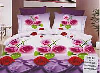 """Комплект постельного белья двуспальный 3D сатин """"Розы, розы"""""""