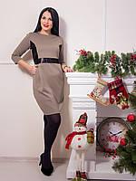 Элегантное светло-коричневое платье с карманами