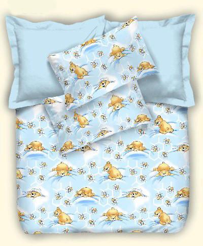 Детское постельное белье Небесные мишки, бязь (подростковое)