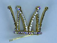 Заколка Корона со стразами (Золото) 151116-022