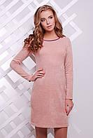 Стильное женское платье для офиса из ангоры цвета персик