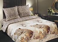 Комплект постельного белья семейный, поплин Леопарды