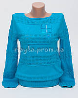 Пуловер женский голубой хлопок размер 46-48 AL28