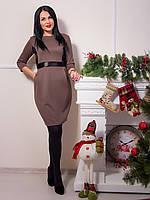 Элегантное коричневое платье с карманами и поясом