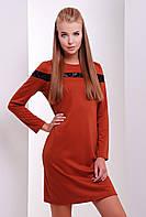 Однотонное платье с кружевными вставками прямого кроя с длинным рукавом кирпичного цвета