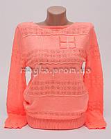 Пуловер женский персик неон размер 46-48 AL28