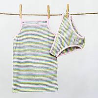 Детский комлект нижнего белья в полоску для девочки р.134