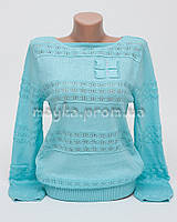 Пуловер женский небесно-голубой хлопок размер 46-48 AL28