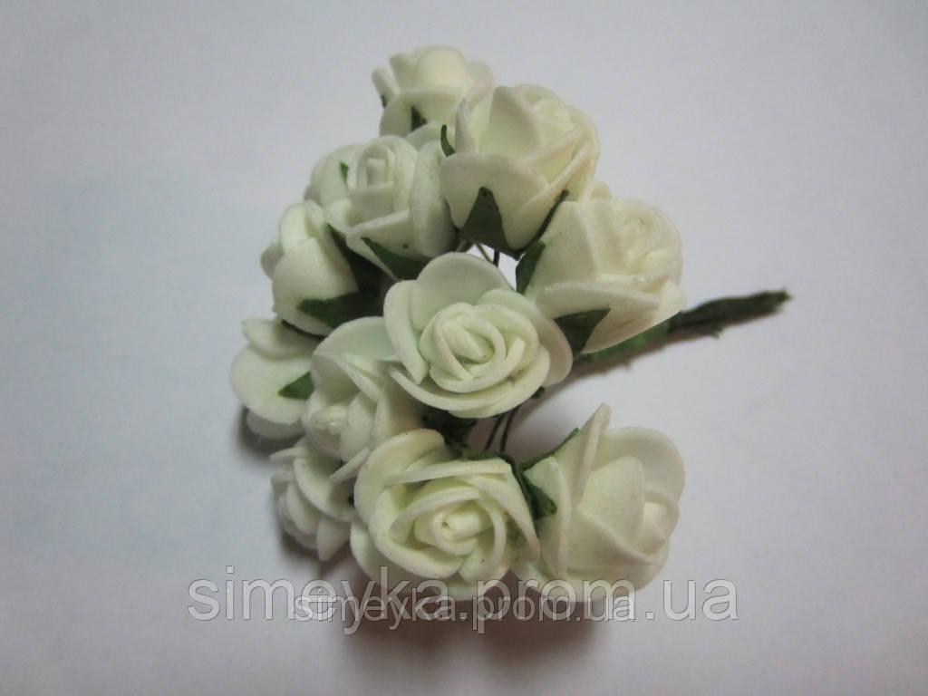 Розочка латексная молочная (айвори), букетик из 11 цветков, диаметр розы 15-20 мм