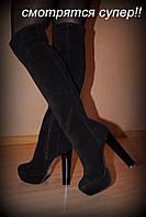 Сапоги ботфорты на высоком каблуке, сезон на выбор