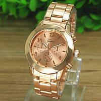 Стильные женские часы  Женева. Розовое золото