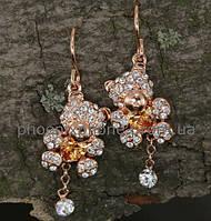 Милые серьги - в форме мишек с кристаллами Swarovski, покрытые слоями золота (203301)