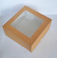 Коробка 16,5х16,5х8см. (с окошком крафт), фото 1