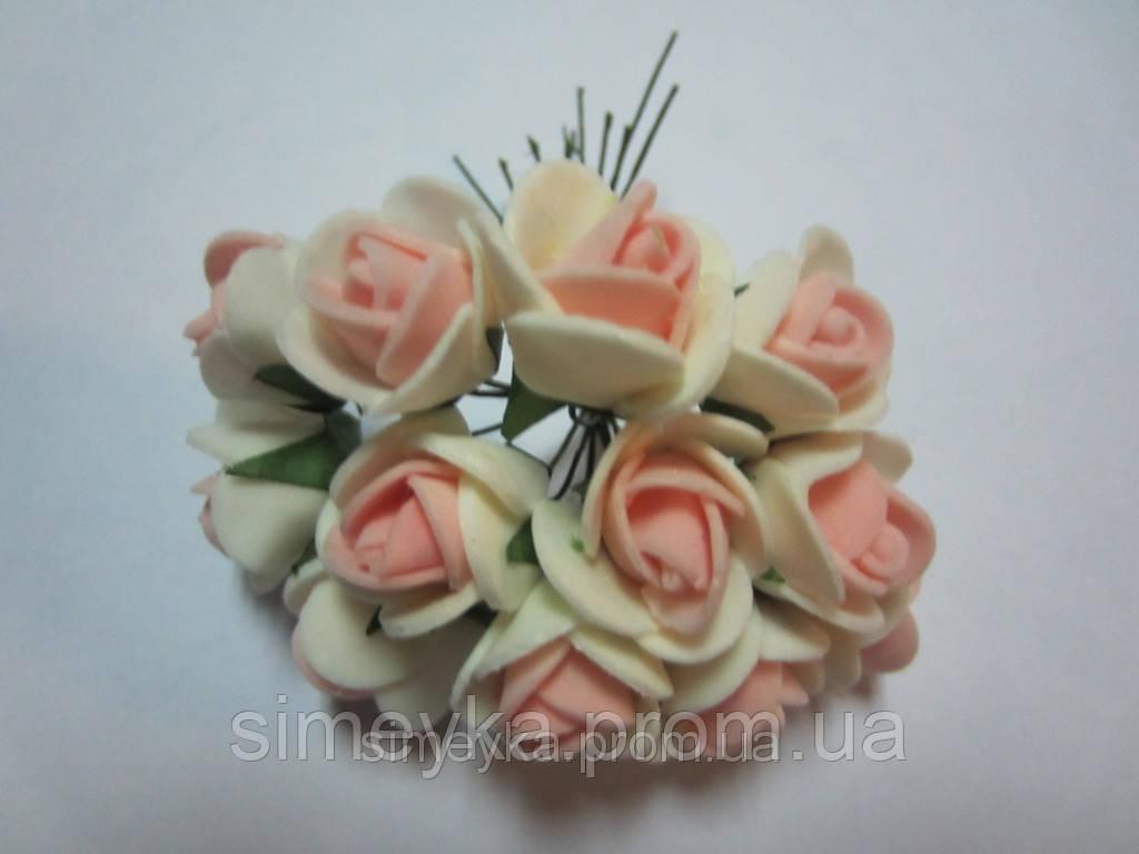 Розочка из фома кремово-персиковая, 11 цветков, диаметр розы 15-20 мм, длина проволоки 7 см