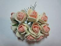 Розочка из фома кремово-персиковая, 11 цветков, диаметр розы 15-20 мм, длина проволоки 7 см, фото 1
