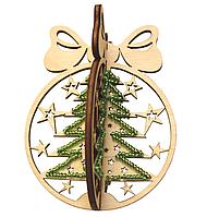 F-022 Набор новогоднее украшение из фанеры Новогодний шар Елка