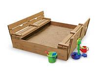 Песочница 145см деревянная с крышкой-лавочками