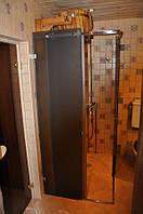 Стеклянная угловая душевая кабина с раздвижными дверьми, фото 1