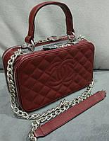 Модная сумка Chanel Шанель на цепочке бордовая