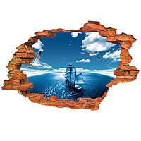 3D стикер декаль наклейка для стены Океан Яхта