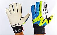 Рукавиці воротарські юніорські FB-853B-3 REUSCH (PVC, р-р 6,7 блакитний-салатовий-чорний)