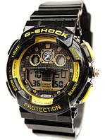 Часы Casio G-Shock GA-100 Черные Черные с желтым