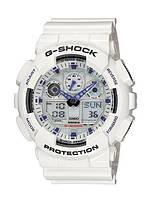 Часы Casio G-Shock GA-100 Черные Белые с фиолетовым