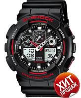 Часы Casio G-Shock GA-100 Черные Черные с красным