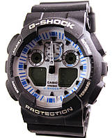 Часы Casio G-Shock GA-100 Черные Черные с голубым