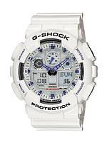 Часы Casio G-Shock GA-100 белые Черные с синим