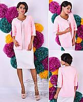 Розовое  кашемировое полу- пальто с брошью. Арт-9295/41