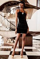 Праздничное Нарядное Бархатное Платье на Стрейчевой Основе Черное на Бретеле р.42-48