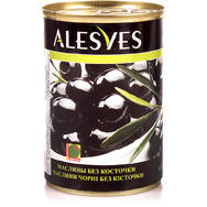 Оливки  Alesves (Алесвес чорные без косточек) 425 г. Испания