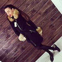 Женское зимнее кашемировое пальто с мехом черного цвета