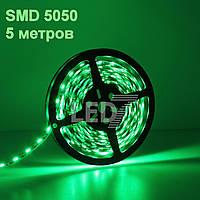 5 метров — светодиодная лента 5050, зеленый, 60 д/м, IP22