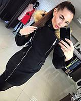 Женское зимнее кашемировое пальто смехом черного цвета